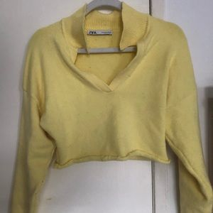 Vintage Looking Cropped Yellow Collared Sweater